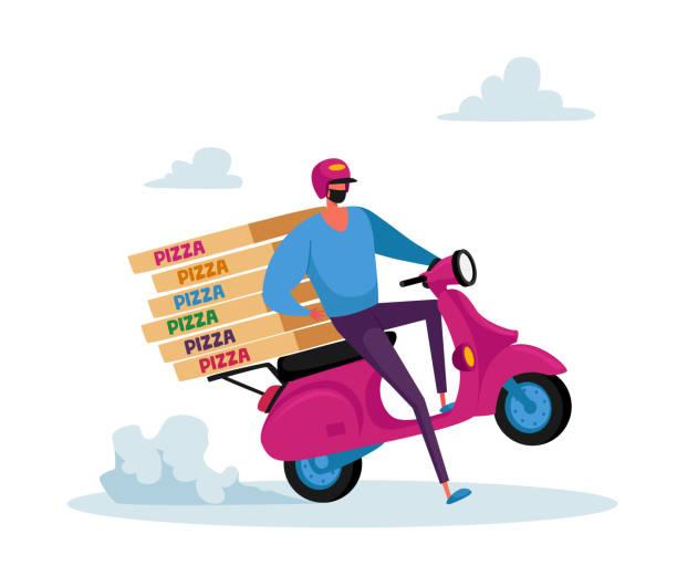 illustrazioni stock, clip art, cartoni animati e icone di tendenza di consegna sicura di cibo. personaggio del corriere in maschera che consegna l'ordine di alimentari alla casa del cliente durante la pandemia di coronavirus - grocery home