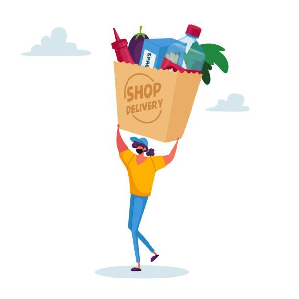 illustrazioni stock, clip art, cartoni animati e icone di tendenza di consegna sicura di cibo durante la pandemia di covid. piccolo corriere personaggio femminile in maschera portare enorme borsa con prodotti alimentari - grocery home