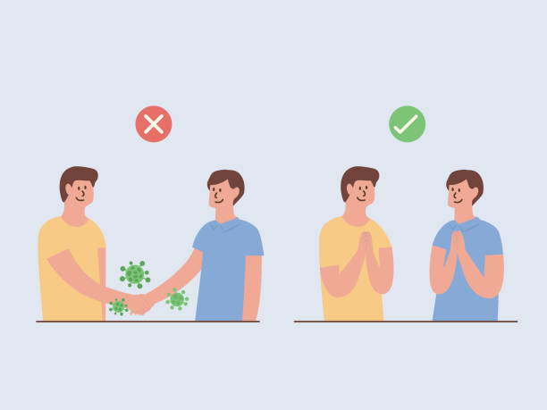 Safe greet is no handshake and no hands contact. Use greet in Asian style for prevent the spread of COVID-19 and inflection. Illustration about Right and wrong ways to protection virus. vector art illustration