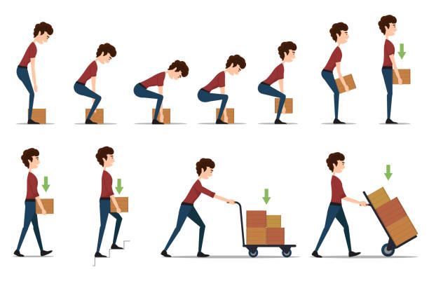 Safe handling and transportation of heavy items Safe handling and transportation of heavy items. Box and man, cargo and worker, delivery cardboard, distribution and weight, vector illustration carrying stock illustrations