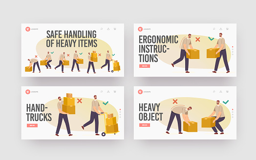 Safe Handling of Heavy Items Landing Page Template Set. Right Wrong Manual Lifting of Goods. Character Carry Boxes