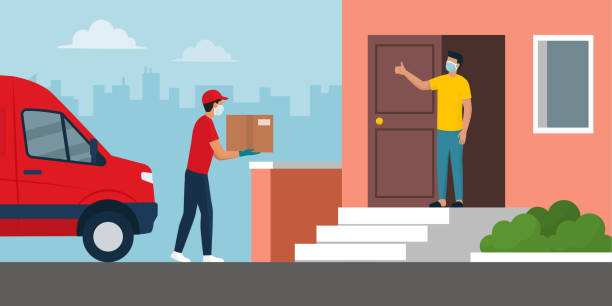 Safe home delivery during coronavirus covid-19 epidemic Safe home delivery during coronavirus covid-19 epidemic: man delivering a box to a customer and leaving the box at a safe distance, he is wearing mask and gloves security equipment stock illustrations