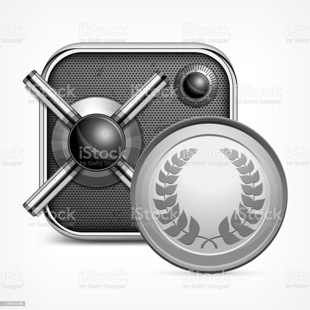 Safe icon & coin royalty-free stock vector art