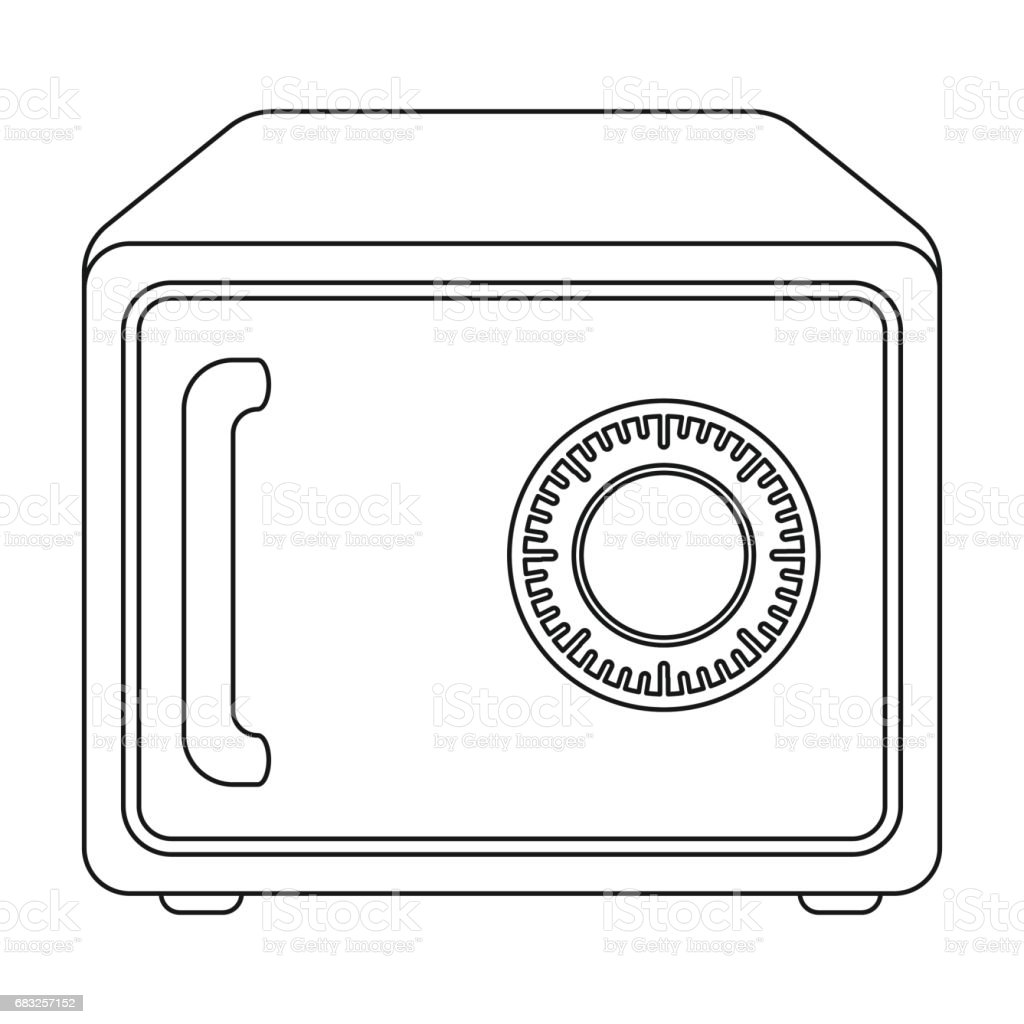 Safe icon in outline style isolated on white background. Hotel symbol stock vector illustration. safe icon in outline style isolated on white background hotel symbol stock vector illustration - arte vetorial de stock e mais imagens de arte royalty-free
