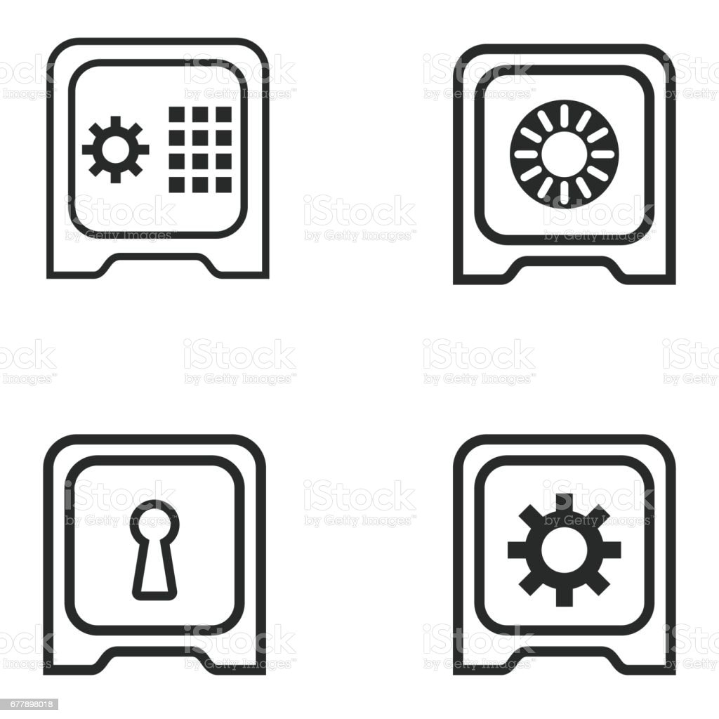 Safe icon set. royalty-free safe icon set stock vector art & more images of 'at' symbol