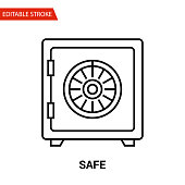 Safe Icon. Thin Line Vector Illustration - Adjust stroke weight - Expand to any Size - Easy Change Colour - Editable Stroke - Pixel Perfect
