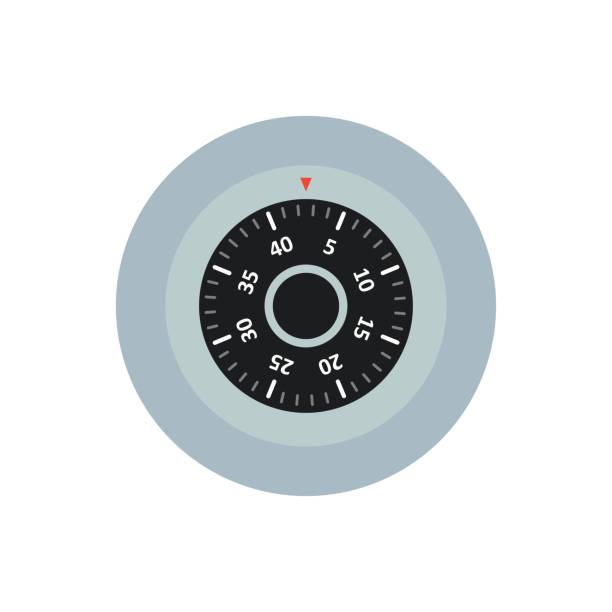 sicherer verschluss mit einem zifferblatt-vektor-symbol - schließfachsachen stock-grafiken, -clipart, -cartoons und -symbole