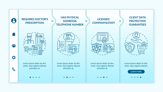 Safe online pharmacy signs onboarding vector template