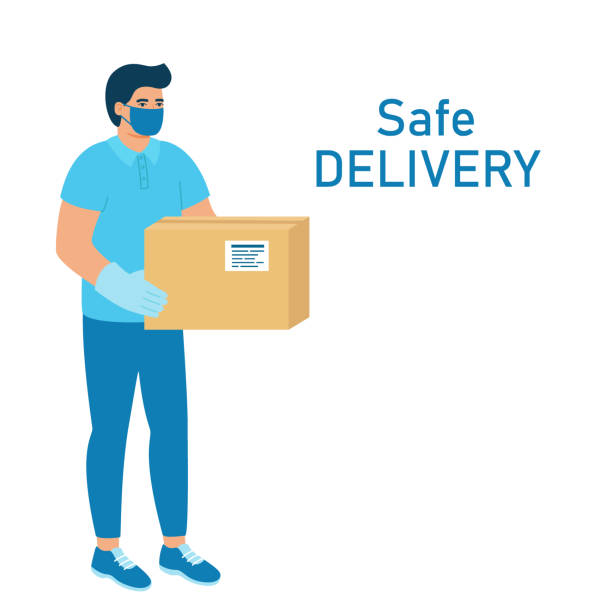 safe order delivery of goods to buyer. man courier delivered parcel box to customer. coronavirus pandemic concept. vector illustration - essential workers stock illustrations