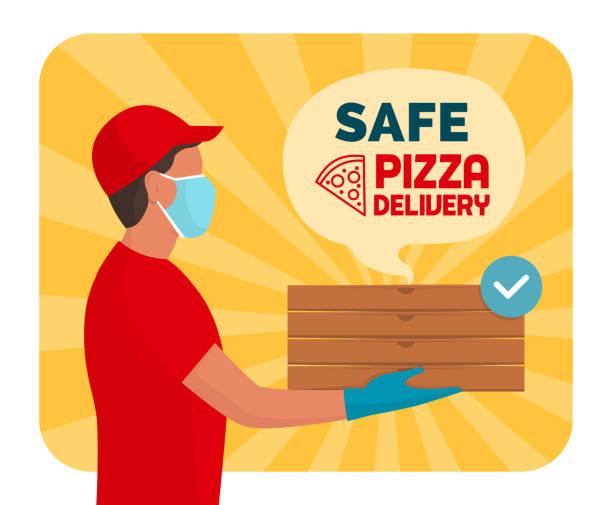 ilustrações de stock, clip art, desenhos animados e ícones de safe pizza delivery at home during coronavirus covid-19 epidemic - covid restaurant