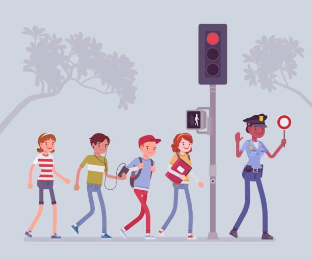Franchissement routier sécuritaire - Illustration vectorielle