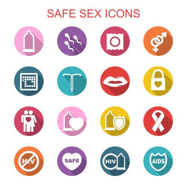 illustrazioni stock, clip art, cartoni animati e icone di tendenza di icone del sesso sicuro lunga ombra - contraccettivo