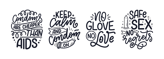 Safe sex slogans, great design for any purposes. Lettering for World AIDS Day design. Funny print, poster and banner with phrases about condoms. Vector