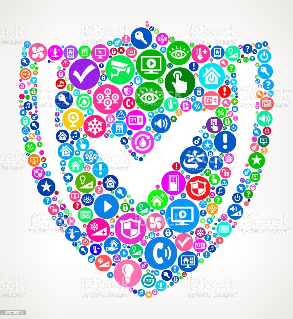 Seguro protetor Home Automation tecnologia ícone padrão - Vetor de Aplicação móvel royalty-free