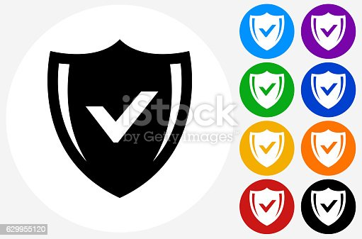 Safe Shield Icon on Flat Color Circle Buttons. This 100% royalty free vector illustration features the main icon pictured in black inside a white circle. The alternative color options in blue, green, yellow, red, purple, indigo, orange and black are on the right of the icon and are arranged in two vertical columns.