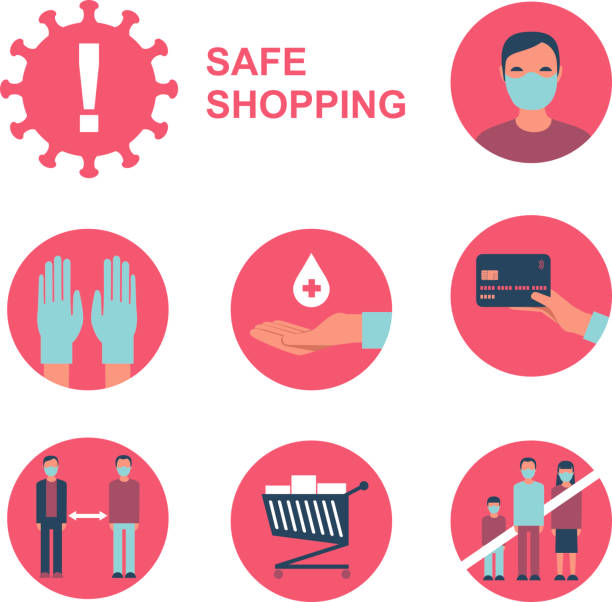 Safe shopping in public place during coronavirus COVID-19 disease outbreak. Flat vector icon set vector art illustration