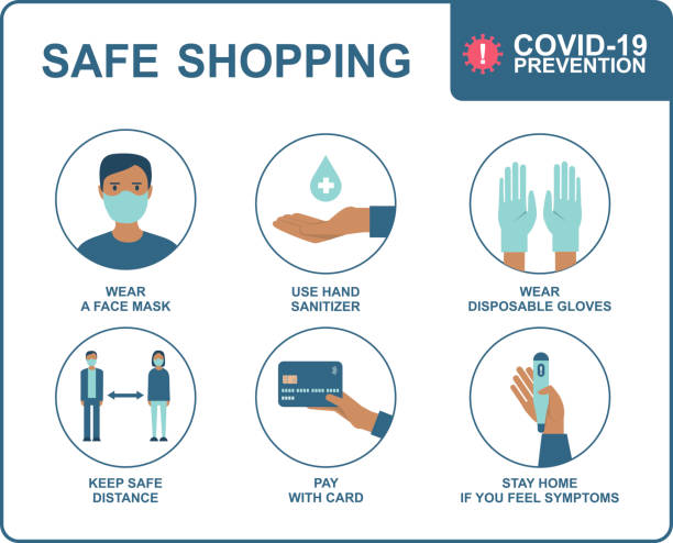 Safe shopping in public places during the coronavirus COVID-19 disease outbreak vector art illustration