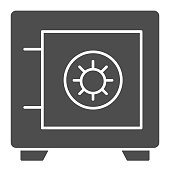 Safe solid icon. Bank money savings, metallic box symbol, glyph style pictogram on white background. Banking or business sign for mobile concept and web design. Vector graphics