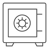 Safe thin line icon. Bank money savings, metallic box symbol, outline style pictogram on white background. Banking or business sign for mobile concept and web design. Vector graphics.