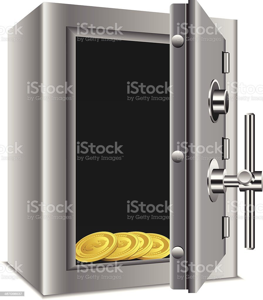 Safe with gold coins royalty-free safe with gold coins stock vector art & more images of bank account