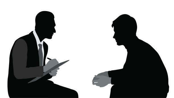 Safe Zone Councelling Silhouette illustration of a psychologist talking to a patient and taking notes shy stock illustrations