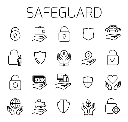 Safeguard related vector icon set.