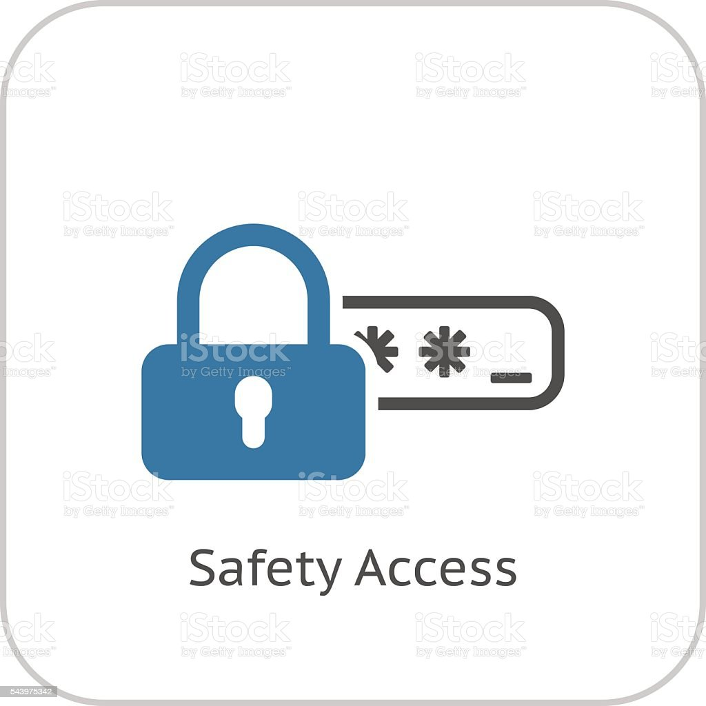 Safety Access and Password Protection Icon. vector art illustration
