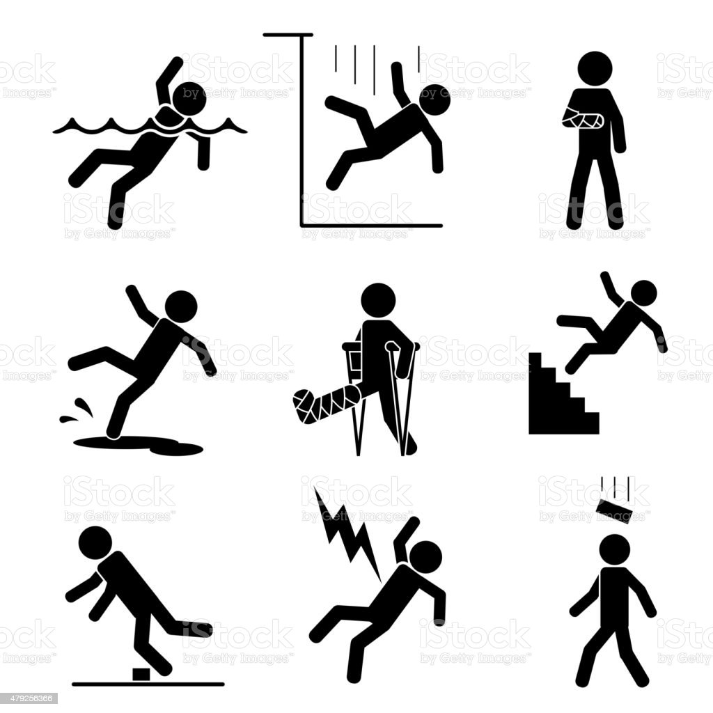 Safety and accident icons vector art illustration