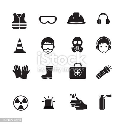 Safety and Health Icons, Safety work equipment and protective, set of 16 editable filled, Simple clearly defined shapes in one color.