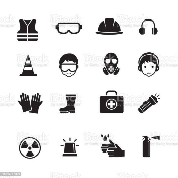Safety And Health Icons - Arte vetorial de stock e mais imagens de Bota