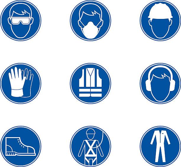 Safety at work signs Safety at work signs safety harness stock illustrations