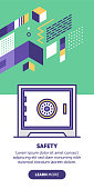 Bank safe vector banner illustration also contains icon for the topic.