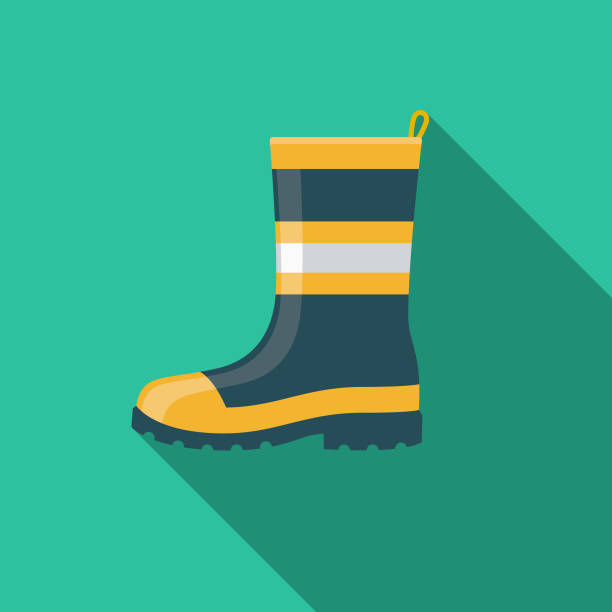 safety boot flat design emergency services icon - boot stock illustrations