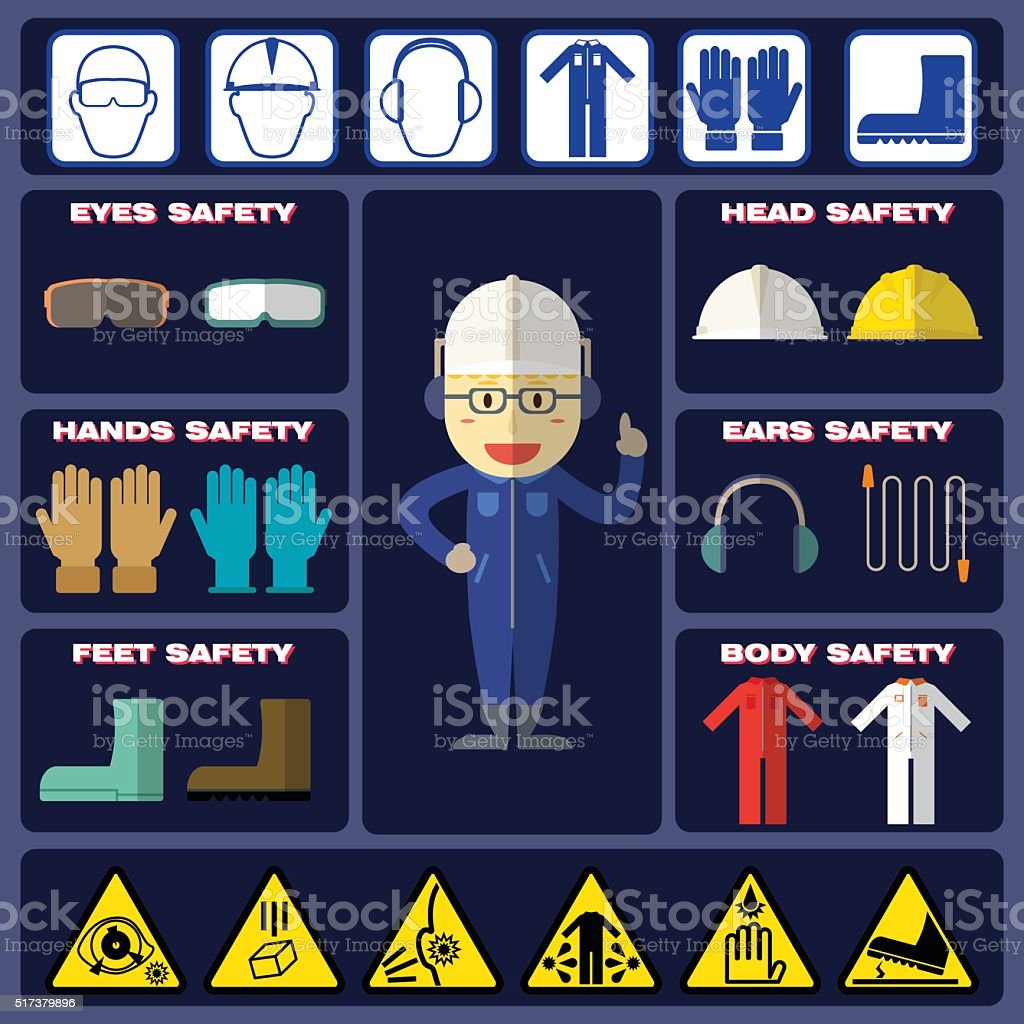 Safety Boy With Safety Equipments vector art illustration