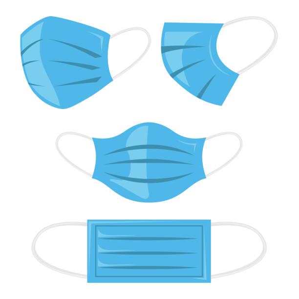 安全呼吸マスクベクトルイラスト、防塵および呼吸医学呼吸器。コロナマスク。病院や汚染のための完璧な保護フェイスマスキング。フラットカラースタイル - マスク点のイラスト素材/クリップアート素材/マンガ素材/アイコン素材