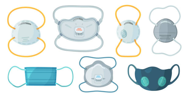 safety breathing masks. industrial safety n95 mask, dust protection respirator and breathing medical respiratory mask vector set - mask stock illustrations