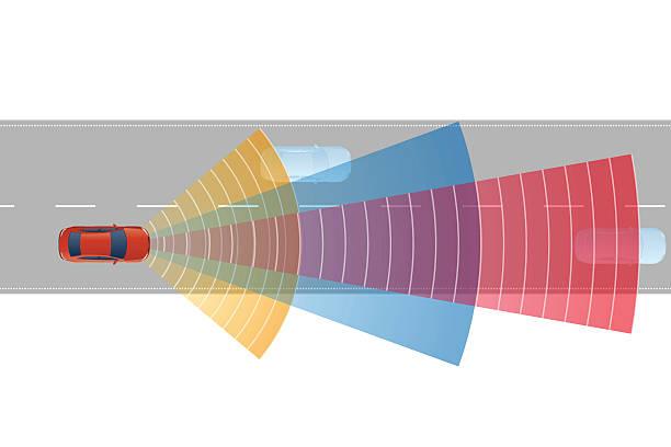 sicherheit auto und verschiedene sensoren, bild illustrationen - selbstfahrende autos stock-grafiken, -clipart, -cartoons und -symbole