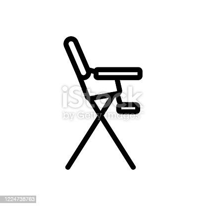 safety chair for feeding with tabletop and with footboard side view icon vector. safety chair for feeding with tabletop and with footboard side view sign. isolated contour symbol illustration