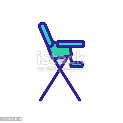 safety chair for feeding with tabletop and with footboard side view icon vector. safety chair for feeding with tabletop and with footboard side view sign. color symbol illustration
