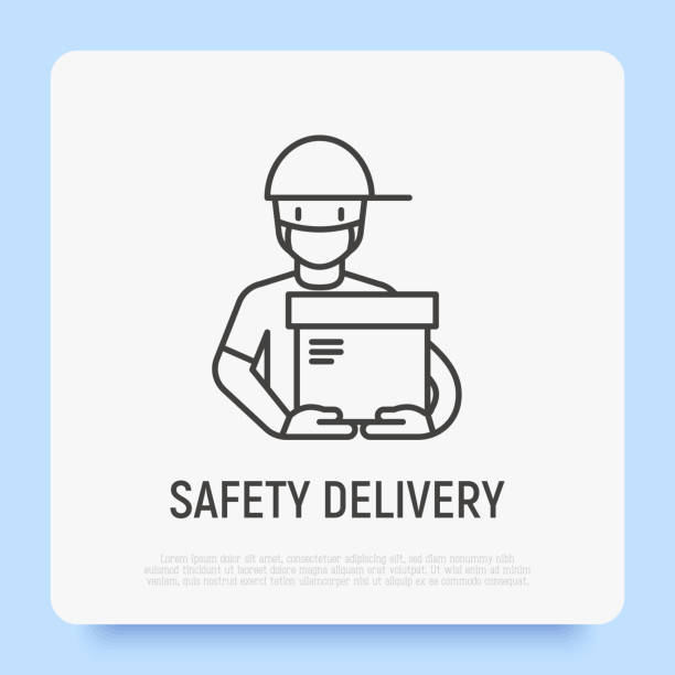 safety delivery of package for covid-19 prevention. courier in gloves and medical mask holding parcel. thin line icon. vector illustration. - essential workers stock illustrations
