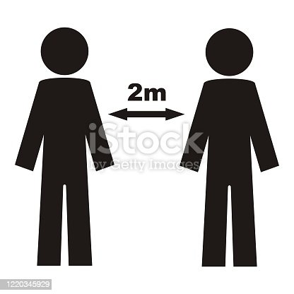 Safety distance, people standing in a row, to stand in a queue, to enter individually, vector icon