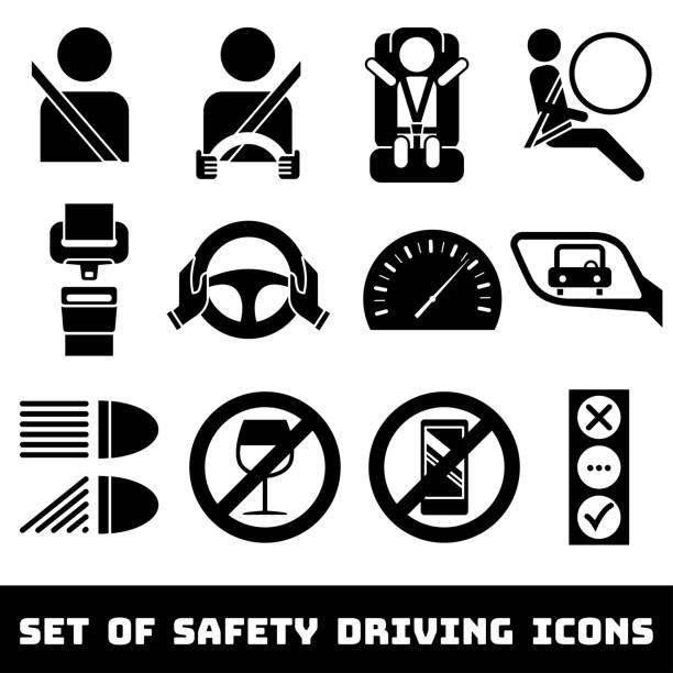 ilustraciones, imágenes clip art, dibujos animados e iconos de stock de seguridad de conducción sistema de iconos de vector de tema - conductor