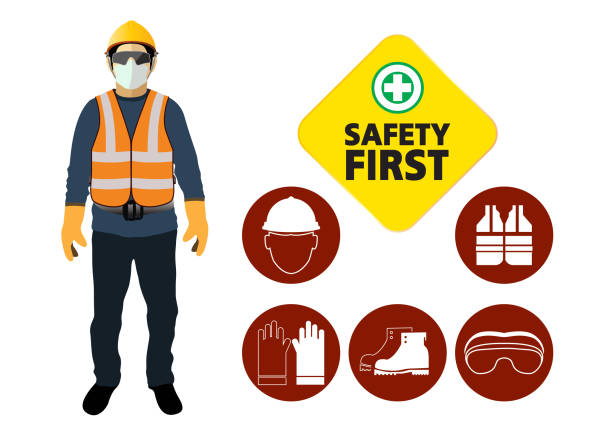 safety equipment, construction concept, White safety hard hat. Vector illustration safety equipment, construction concept, White safety hard hat. Vector illustration protective workwear stock illustrations