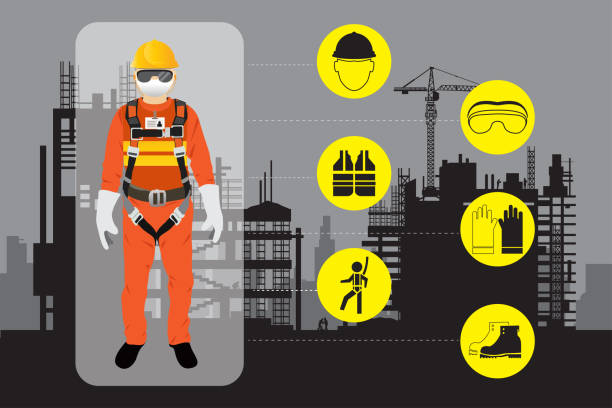 safety equipment, construction worker safety equipment, construction worker protective workwear stock illustrations
