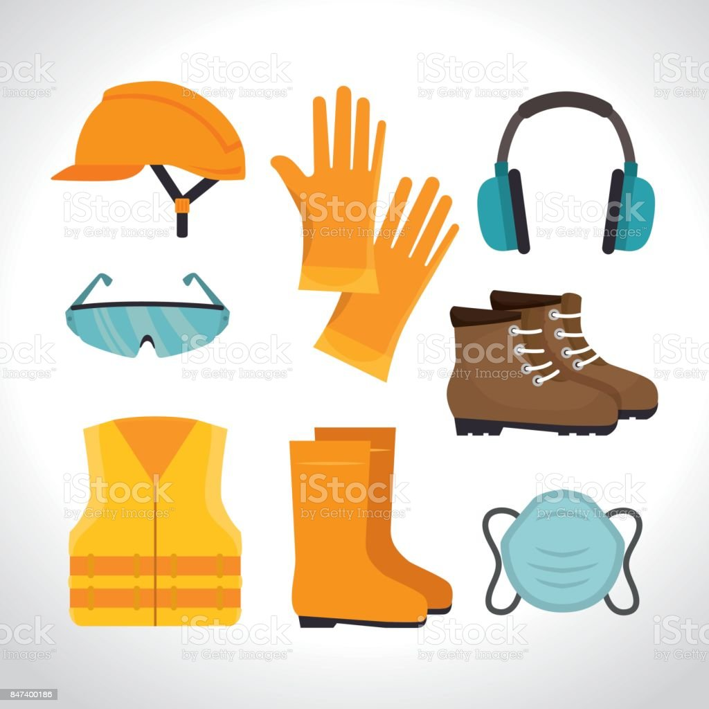 safety equipment design vector art illustration