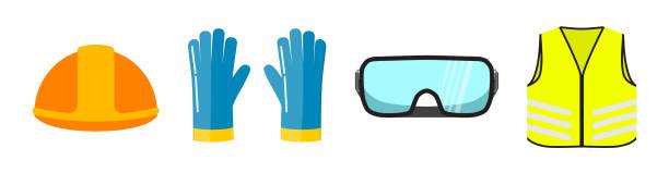 sicherheit ausrüstung flache vektor-illustration, isoliert auf weißem hintergrund. bau helm, handschuhe, transparente gläser neon sicherheit weste vorderansicht. - schutzbrille stock-grafiken, -clipart, -cartoons und -symbole