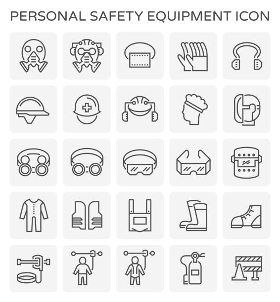 safety equipment icon Safety equipment and tool icon set. security equipment stock illustrations