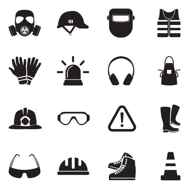 sicherheit ausrüstung icons. schwarze flache bauweise. vektor-illustration. - schutzbrille stock-grafiken, -clipart, -cartoons und -symbole