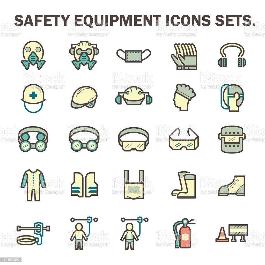 Iconos de equipos de seguridad - ilustración de arte vectorial