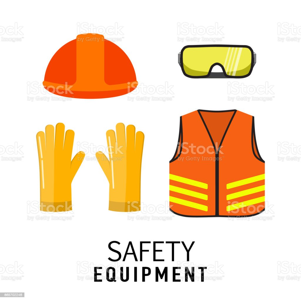 safety equipment items flat vector illustration isolated on white